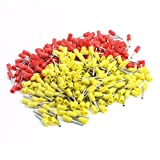 Aexit 190Pcs E0508 Yellow Red Pre Insulate Ferrules Terminals for 22AWG Wire