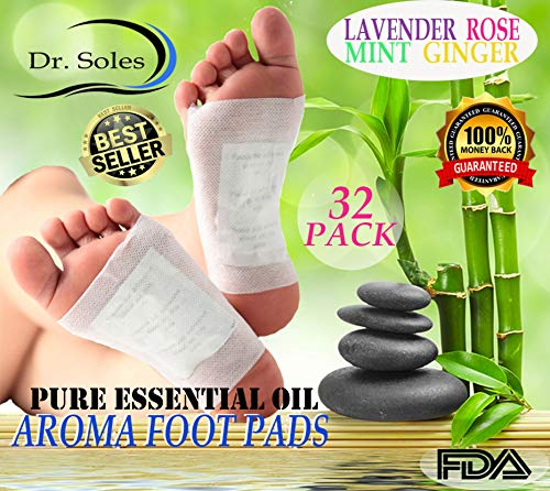 Dr. Soles Pure Essential Oil Foot Pads: 100% All Natural Organic Reflexology 2-in-1 Aromatherapy Premium Foot Care Alternative Pain Relief & Sleep Aid (32 Pack)