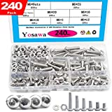 Yosawa 240-Pieces M6 Stainless Steel Bolts Hex Socket Button Head Cap Screws and Nuts Flat Washers Assortment Kit MG6