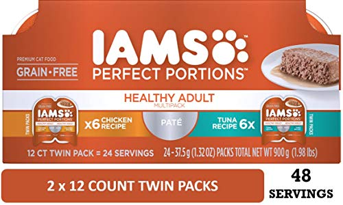 IAMS Perfect Portions Healthy Adult Grain Free Wet Cat Food, Pate (24 Twin Packs), Variety: Chicken & Tuna