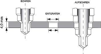 /Ø 5-35mm Stufenbohrer Sch/älbohrersatz f/ür Stahlblech bis 3mm dick oder Kunststoff//Metallblech f/ür Lochgr/ö/ße 5-35mm Bestechno HSS Stufenbohrer