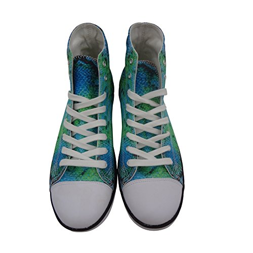 FOR U DESIGNS Stylish Snake Skin Print High-Top Canvas Shoes Lace Up Fashion Sneaker for Women Green 2 dffHnFU
