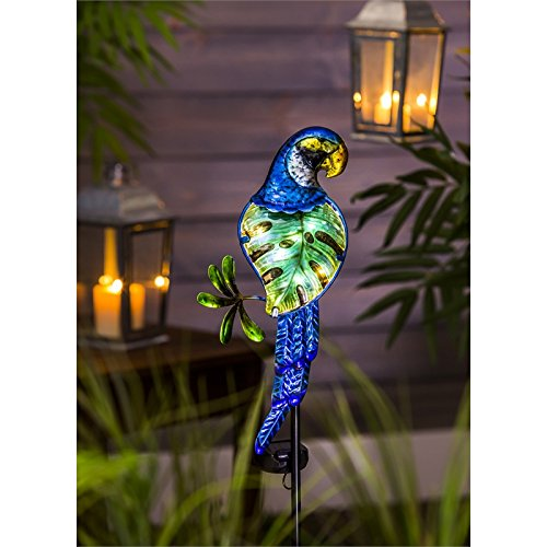 New Creative Parrot Metal and Glass Solar Garden Stake