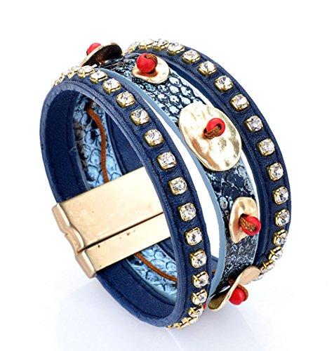 [BIBITIME Rustic Ethnic Beaded Bracelet Buckle Clasp Wide Cuff Bangle Bracelet,Blue,D 2.48 inch] (Indian Beaded Bracelet)