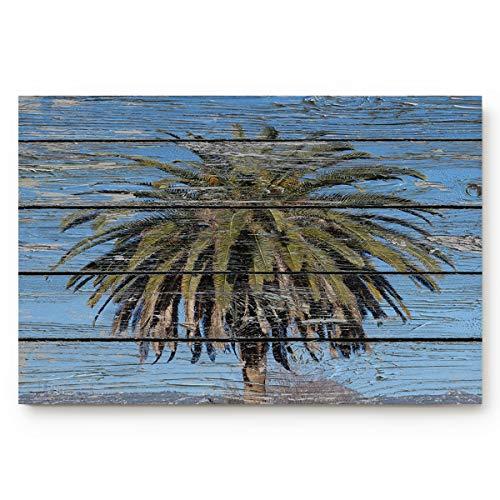 OUR WINGS Wood Grain Blue Sky and Palm Tree Welcome Doormats Rubber Non-Slip Floor Mat Rugs for Entrance Way/Indoor/Front Door/Bathroom/Kitchen, Shoe Scraper Carpet 20