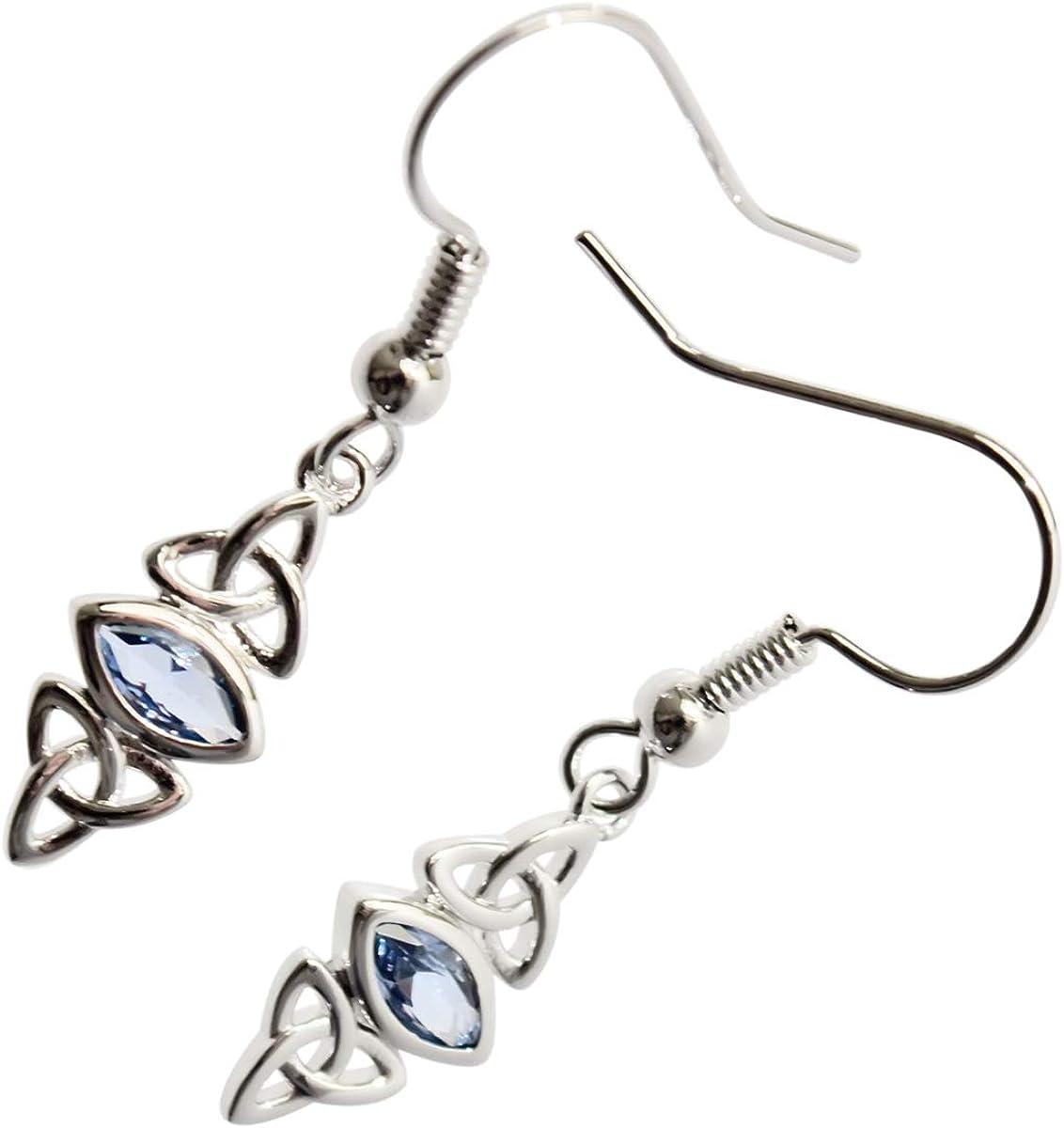 GWG Jewellery Pendientes Mujer Regalo Pendientes Colgantes, Chapados en Oro Blanco 18K Triquetras Celtas de Trinidad Abrazadas Cristal de Color Turquesa Azul para Mujeres