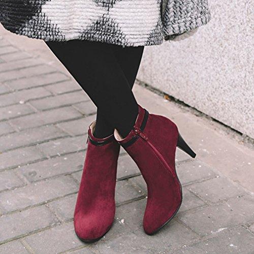 ENMAYER Mujeres Suede Sexy Pearl Estilete Tacones Altos Puntiagudos Zip Botas Vestido Partido Vino rojo#G4
