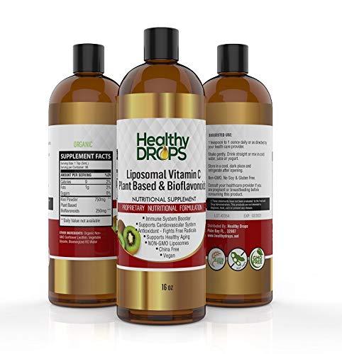 Vitamin C with Bioflavonoids Liquid Supplement, Real Vitamin C 13X Stronger - 1000mg Liposomal Fruit Based Extract, Non-GMO, Vegan - 96 Doses - 16 Ounces