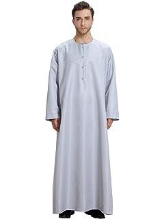 Fubotevic Mens Middle East Muslim Embroidery Long Sleeve Long Sleeve Arab Thobe Thawb Caftan