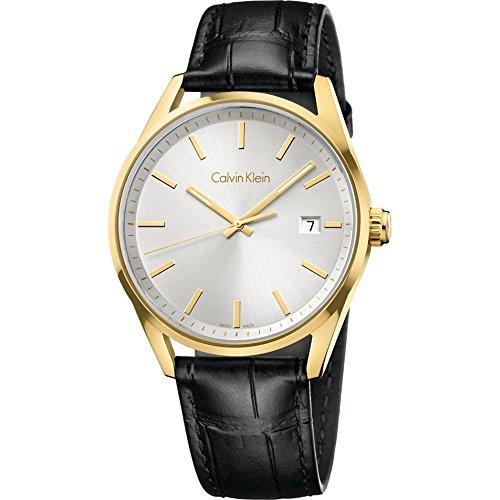 Calvin Klein K4M215C6 Gold Bezel Black Leather Men's Watch