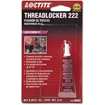 Loctite 38653 222 Purple Low Strength Thread Locker Tube, 6-milliliter
