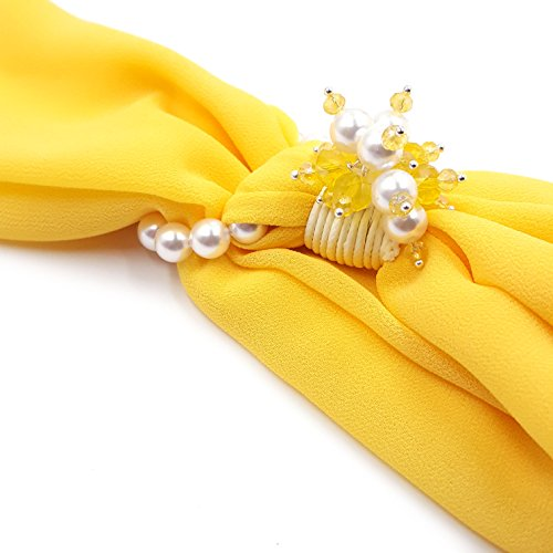 Kobe Estivo Sciarpa Di Donna E Con Fermaglio Colore Pietre Original Made Perle Foulard Naples In Giallo Dure xC7Ufqfw