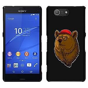 """For Sony Xperia Z3 Plus / Z3+ / Sony E6553 (Not Z3) , S-type Enfriar Hipster Oso"""" - Arte & diseño plástico duro Fundas Cover Cubre Hard Case Cover"""