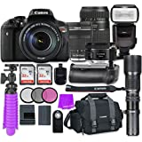 Canon EOS Rebel T6i 24.2MP WiFi Enabled Digital SLR Camera with Canon EF-S 18-135mm f/3.5-5.6 IS STM Lens + Tamron Zoom 70-300mm f/4-5.6 Lens + Canon EF 50mm f/1.8 STM Lens + Accessory Bundle