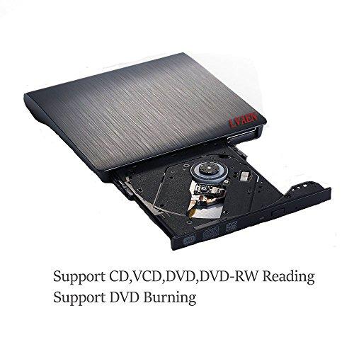 Lvaen External DVD Drive, USB 3.0 Slim Portable CD/DVD-RW Combo Burner Writer Player Optical Drive for Apple Macbook, Macbook Air, Laptops, Desktops (Black) by Lvaen (Image #1)'
