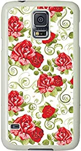 Flower Girly Galaxy S5 Case, Galaxy S5 Cases - Compatible With Samsung Galaxy S5 SV i9600 - Samsung Galaxy S5 Case Durable Protective Case for White Cover
