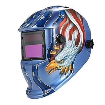 KKmoon Casco de soldadura soldadores máscara Arc Tig Mig de Molienda de oscurecimiento auto solar Águila Azul: Amazon.es: Amazon.es