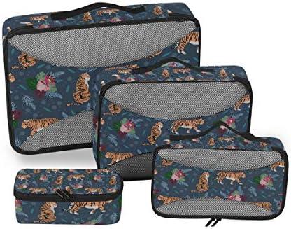 タイガースブルーアートフラワーズ荷物パッキングキューブオーガナイザートイレタリーランドリーストレージバッグポーチパックキューブ4さまざまなサイズセットトラベルキッズレディース