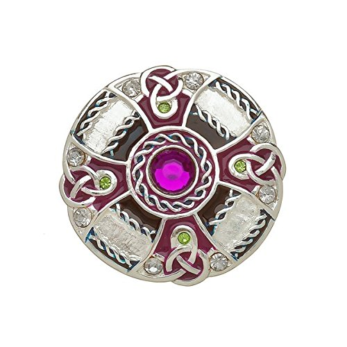 Amethyst Dublin Silver Plated Celtic Brooch with Coloured Enamel and Faceted Stones.