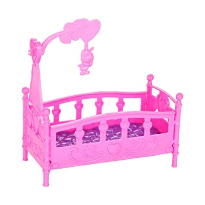 Toyvian Mini Bed Dollhouse Furniture Baby Crib Kid Room Bedroom Home Mini Pretend Play Toy for Baby Kids Children (Random Color): Toys & Games