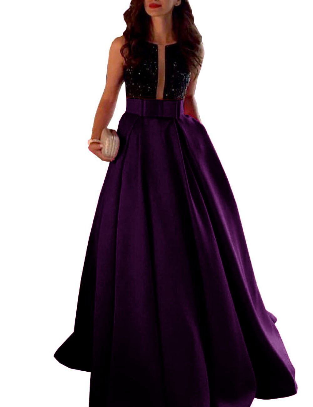 MariRobe Women's Beaded A Line Satin Evening Dress With Sash Formal Party Gown US16 by MariRobe