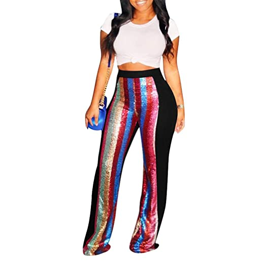 0ae19a1f07c87 HANMAX Women s Sexy Glitter Sequin Pants Color Block Flared Stretch Palazzo  Pants Plus Size Black