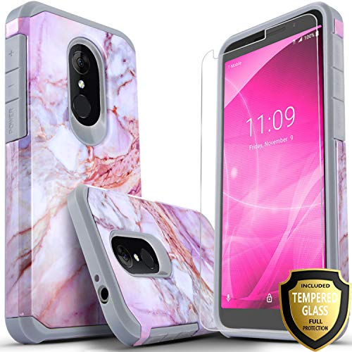 Revvl 2 Case (T-Mobile) Included [Tempered Glass Screen Protector], Star Absorption Drop Protection Dual Layers Impact Advanced Rugged Protective Phone Cover-Marble Pattern