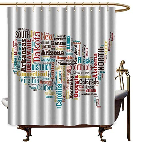 Shower Curtains Pockets Americana for Home Decorations Collection,USA United States America Map Cities and Towns California Missouri Virginia,Teal Brown Yellow,W72 x L72,Shower Curtain for Bathroom]()