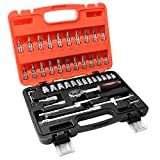 Auto Repair Tools, 1/4-Inch Car Repair Kit Socket Ratchet Wrench Combination Package Mixed Tool Set Hand Tool Kit with Plastic Toolbox (46 PCS)
