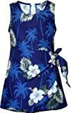 Pacific Legend Girls White Hibiscus Monstera Sarong Dress Navy Blue 4