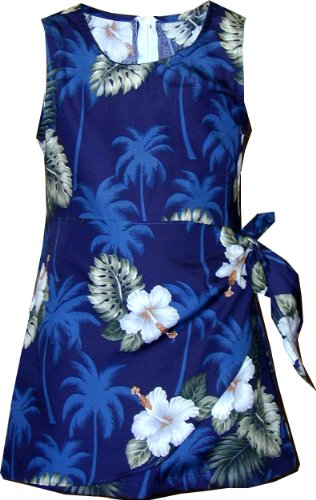 White Hibiscus Monstera Sarong Dress Navy Blue 10 (Hibiscus Sarong Dress)