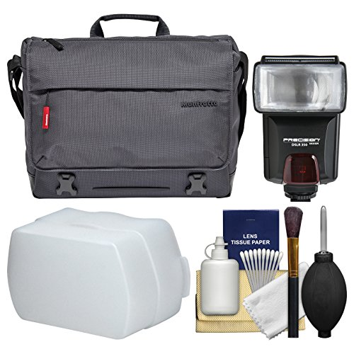 Manfrotto Lifestyle Manhattan Speedy-10 Digital SLR Camera Messenger Bag with Flash + Diffuser + Kit -