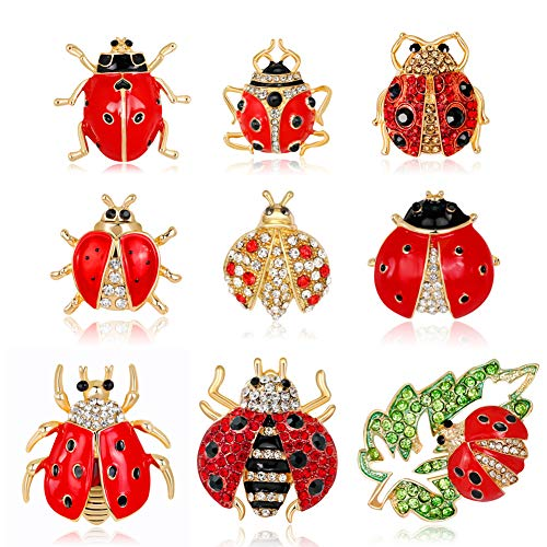 Apol Set of 9 Lovely Little Ladybug Brooch Womens Crystal Rhinestone Brooch Pins Party Gift Jewelry Accessories