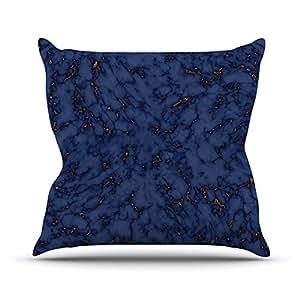 """KESS inhouse ww1001aop0318x 45,7cm """"voluntad Wild, Azul y Oro Mármol Azul Marino abstracto"""" Cojín Manta de exterior, multicolor"""