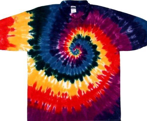 Tie Dyed Shop Dark Rainbow Golf Tie Dye Shirt-Medium-Multicolor (Shirt Dead Golf)