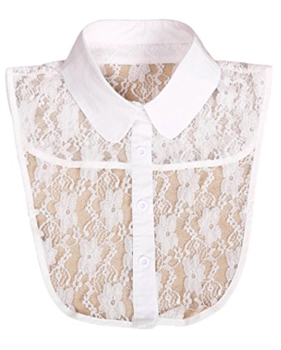 Lacquer Elephant - P-LINK False Collar Fake Half Shirt Blouse Neat Cute Wearing for Girls and Women Chiffon Freshly Lacquer high Neck Square Circle Frill Pack Prime Bundle Extra Coupon XLarge inch Breed (TypeB;White)
