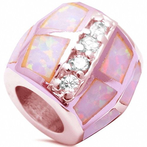 Trendy Bead Pendant Created Pink Opal Round Simulated Cubic Zirconia Rose Tone 925 Sterling Silver - Opal Bead Sets