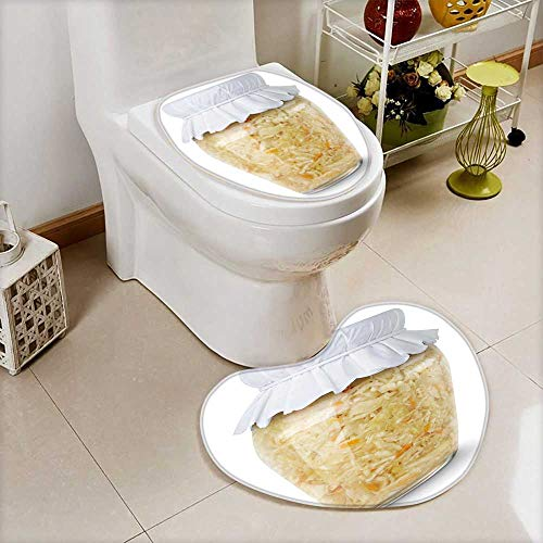 Printsonne Heart shaped foot pad 2 Pieces Set isolated sauerkraut marinated cabbage sauerkraut in glass jar with paper lid in Bathroom toilet Mats ()