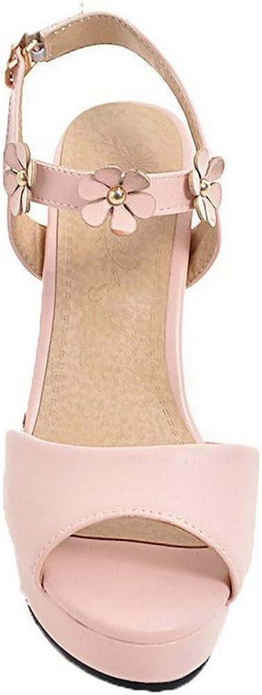 AalarDom Femme Couleur Unie à Talon Haut Boucle Ouverture Petite Sandales,TSFLH005883 Rose