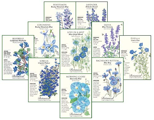 Botanical Interests Singing The Blues Flower Seed Collection - 10 Packets with Gift Box