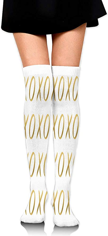 Over Knee High Socks,Affection Sincerity Love Letter Figures with Old Fashioned Style Retro Effects Print,60CM