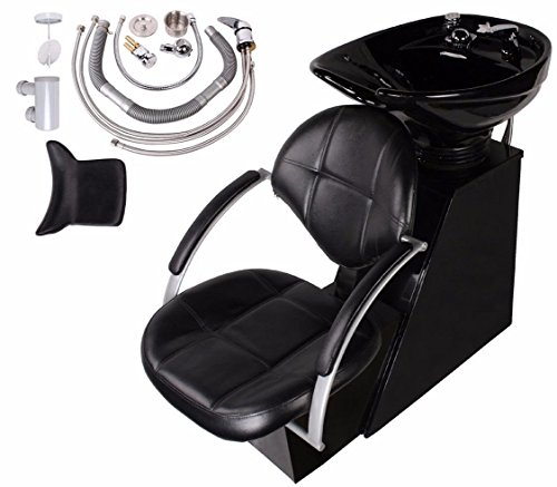 BarberPub Backwash Barber Chair Creamic Shampoo Bowl Sink Unit Station Spa Salon Equipment 9076 Black by BarberPub