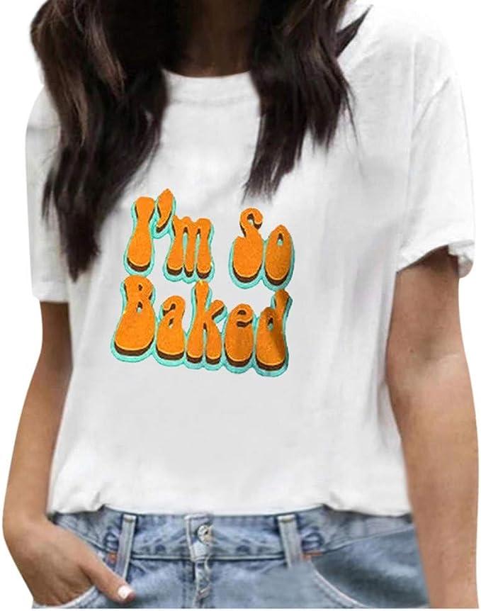 Warmword Camisetas Mujer Manga Corta Verano Impresión T Shirt ...