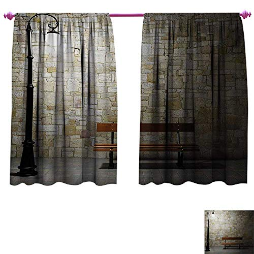 cobeDecor Street Customized Curtains Modern Avenue at Dark Night with a Open Lamp and Bench and Stone Wall Behind Image Room Darkening Wide Curtains W84 x L72 - Ashton Wall Lamp