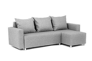 Abakus Direct Oslo Corner Sofa Bed Storage Linen Fabric Grey Right
