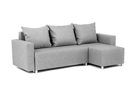 Oslo Corner Sofa Bed With Underneath Storage In Grey Linen Fabric   Right