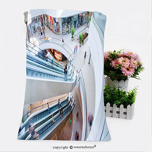 VROSELV Cotton Microfiber Bathroom Bath Towel-modern shopping mall people in rush Custom pattern of household - Greece Shopping Malls In