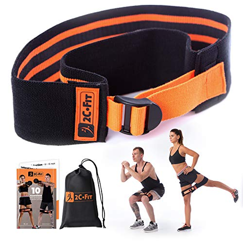 2C.Fit Adjustable Hip Band Circle - Replaces a Set of 3 Bands - Legs and Butt Workout - Adjusts from 12 to 17 Inches - Glutes and Thighs Activator, Non Slip, Thick Cloth Resistance Booty Band
