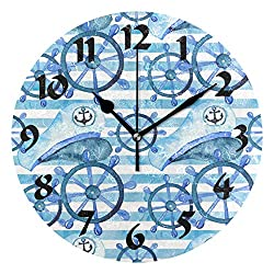 XinMing Round Boat Navy Blue Wall Clock Battery Operated Decorative for Kitchen Living Room Bedroom Office