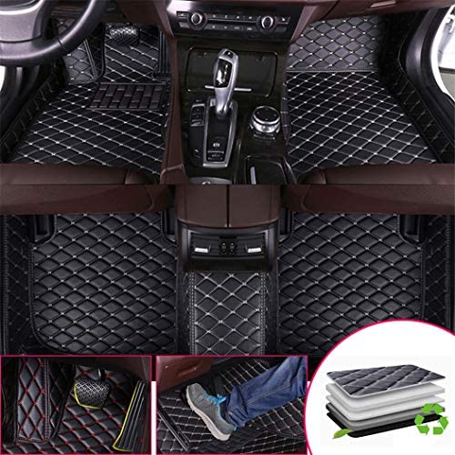 Custom Car Floor Mats for Toyota Sienna 2011-2016 7-Seats Full Surrounded Waterproof Anti-Slip All Weather Protection Leather Material Car mat Carpet Liners Black and Beige